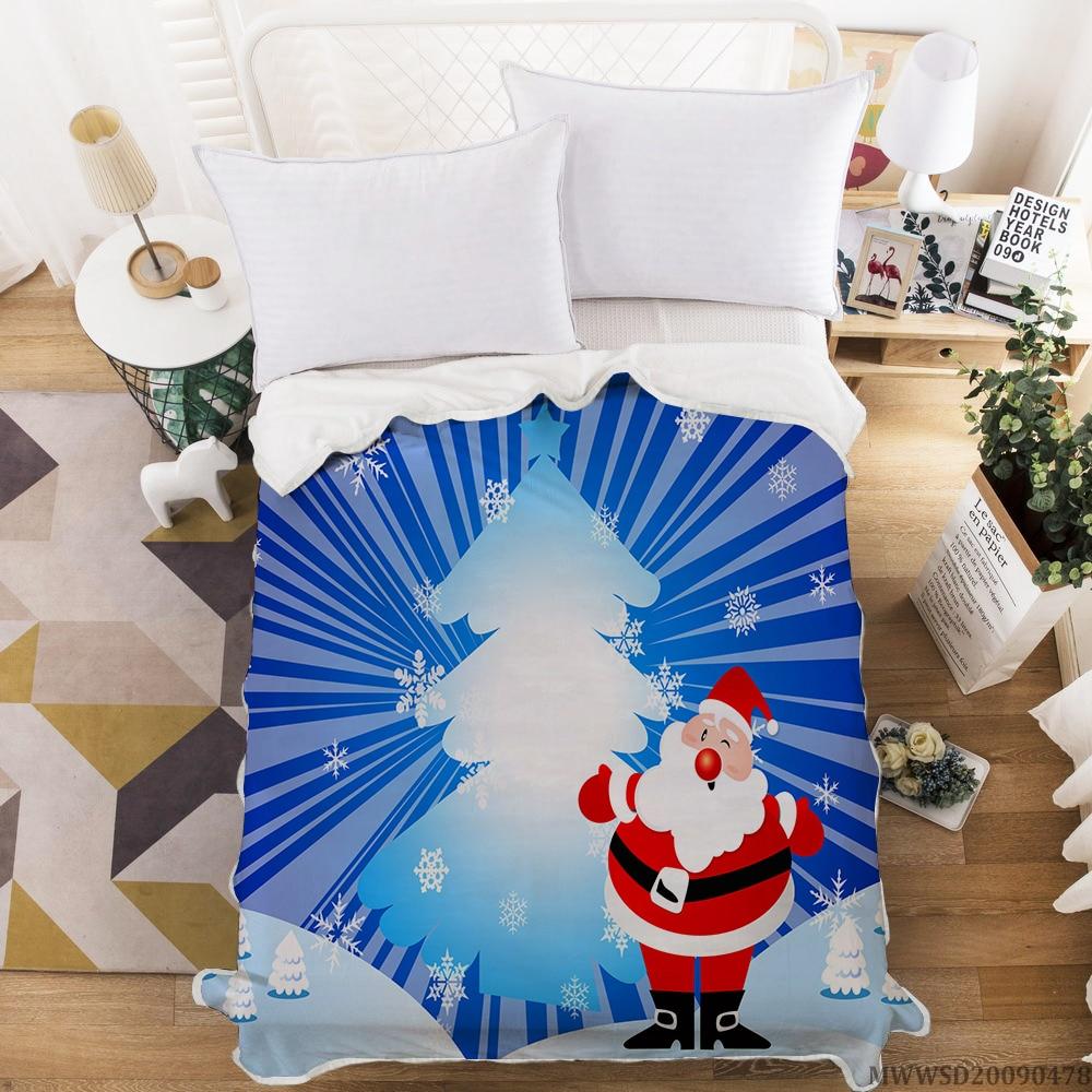 المنسوجات المنزلية عيد ميلاد سعيد سانتا كلوز طباعة بطانية 3D الحديثة للأطفال ديكور غرفة نوم الأطفال