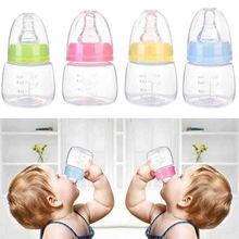 1 stücke 60ml baby flasche tragbare baby glas flasche kegel pflege flasche silikon nippel leicht zu reinigen rosa/gelb/blau/grün