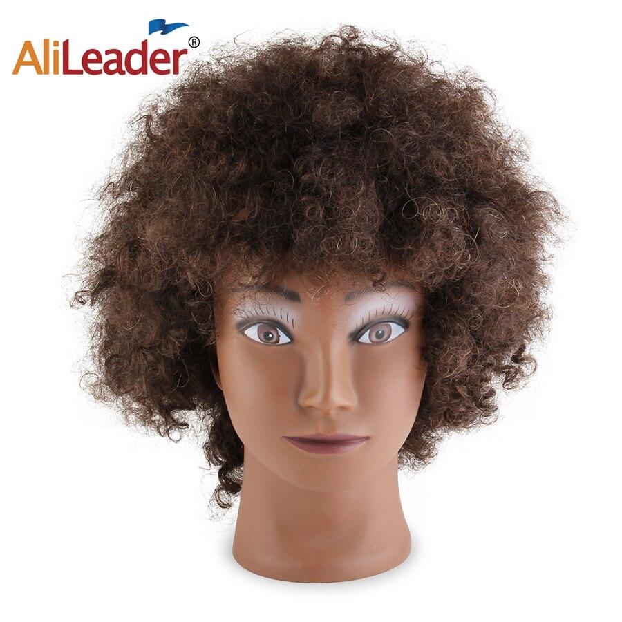 Alileader, cabeza de maniquí Afro para salón de entrenamiento, cabeza de maniquí 100% de pelo humano, maniquí de muñeca para formación de peluquería, cabeza de maniquí con cabello Real