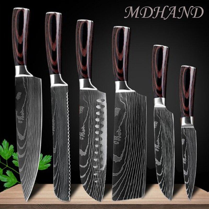 سكين طاهي دمشق من الفولاذ المقاوم للصدأ مقاس 8 بوصات بنمط ليزر ، أدوات تقطيع ، ساطور سوشي ، ملحقات مطبخ