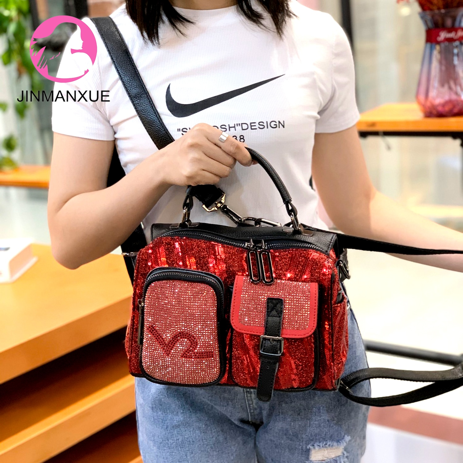 Fashion Diamond Handbag Multi-Function Tote Bag Women New Hit Color Shoulder Messenger Bag Wild Trend Portable Backpack fashion trend casual lychee pattern backpack 2020 college suede small backpack single shoulder bag messenger handbag