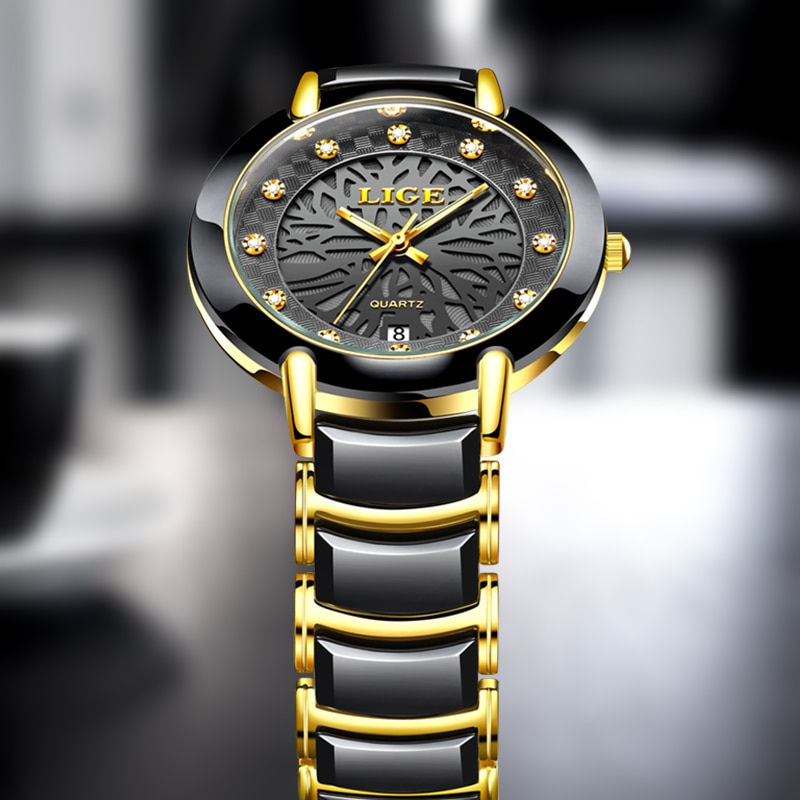 Relógio de Quartzo para Homens Diamante à Prova Relógio de Pulso Relógio Masculino Lige Marca Novo Topo Moda Cerâmica Luxo Dwristver Água 2021