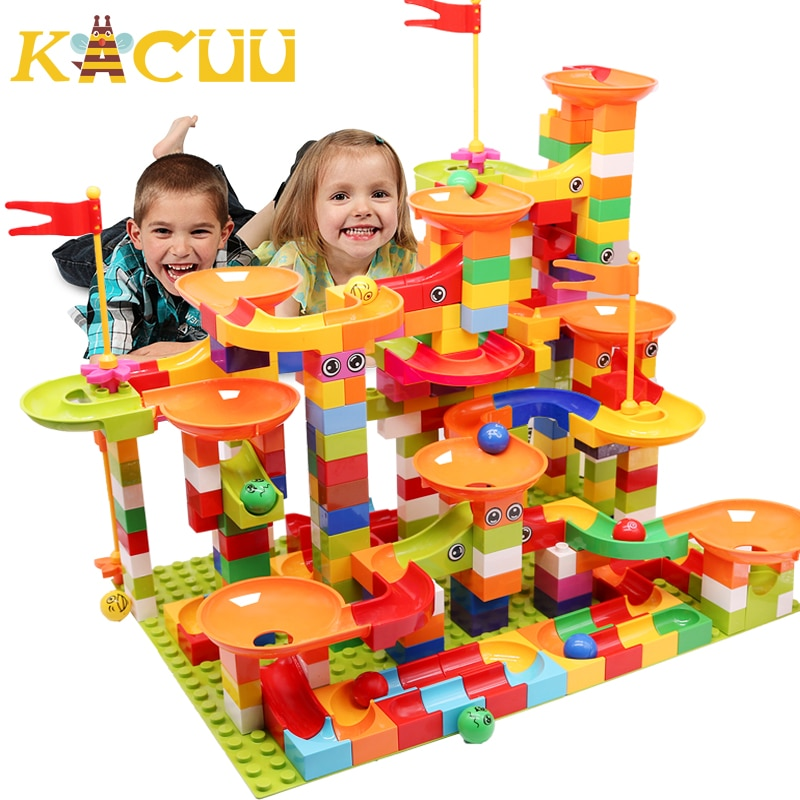 74-404PCS Marble Race Run Block Big Size Building Blocks Plastic Funnel Slide DIY Assembly Bricks Educational Toys For Children