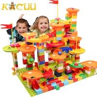 Marble Race Run Block Big Size Building Blocks Plastic Funnel Slide DIY Assembly Bricks Toys For Children