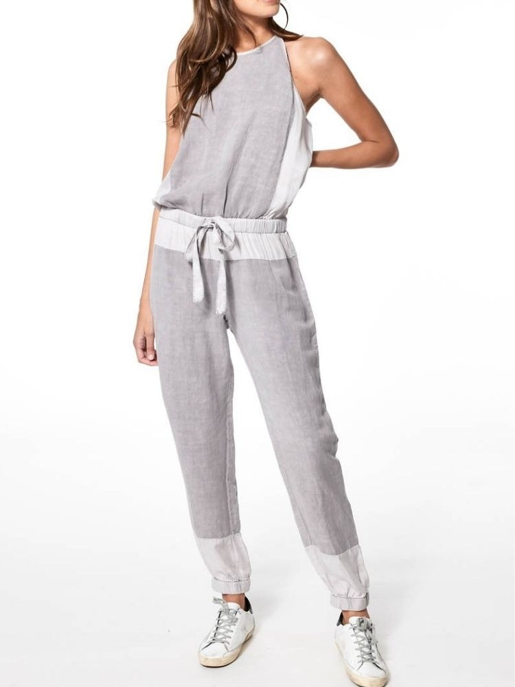 Cadet Women Jumpsuit Hollow Out Backless Adjustable Waist Scoop Neckline Skinny Trousers Linen Rayon Overalls Romper