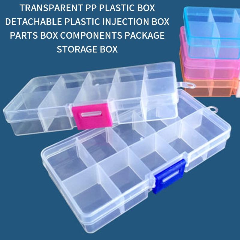 Caja de almacenamiento portátil de 10 ranuras de colores para herramientas de joyería, contenedor de anillo, piezas electrónicas, tornillo, cuentas, organizador, caja de plástico