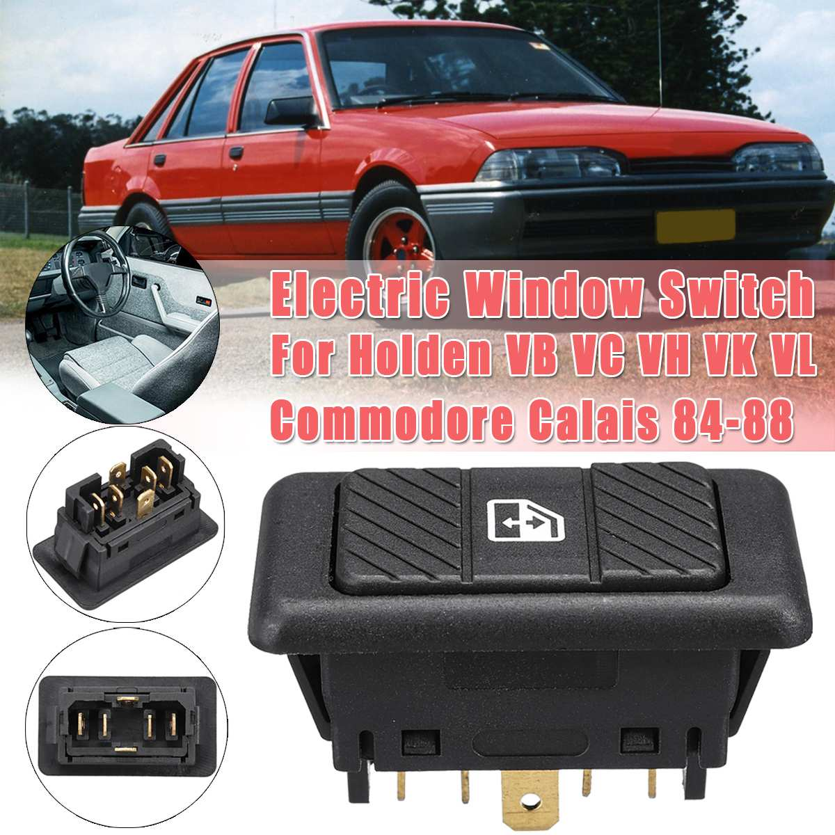 Interruptor de palanca de la ventana eléctrica del coche de 6 pines para Holden VB VC VH VK VL Commodore Calais 84-88 BWASWPW04