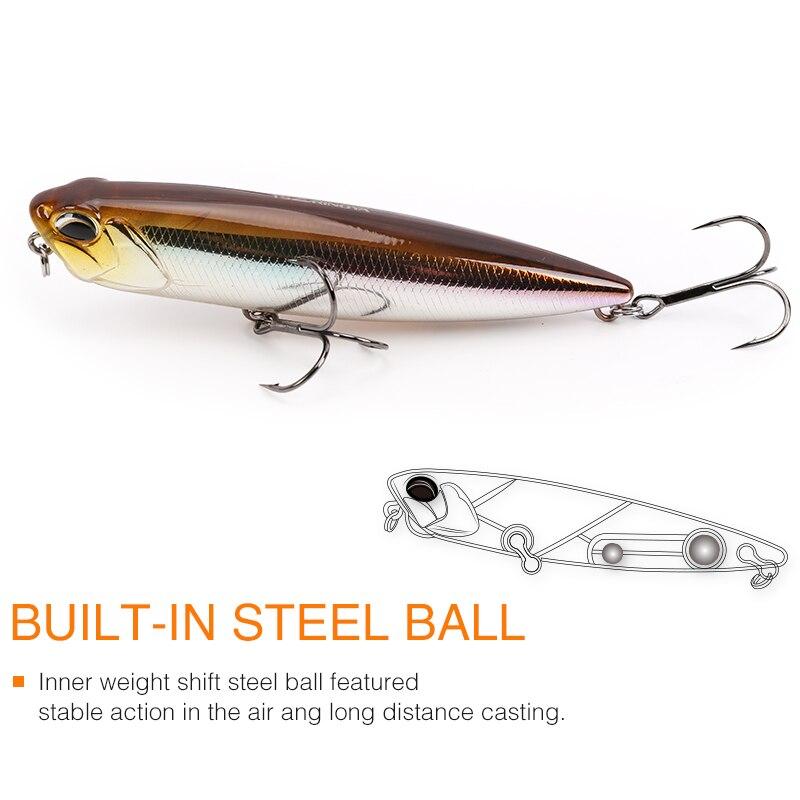 TSURINOYA DW59 Top Water Pencil 8.5cm 10.5g Long distance Throwing Fishing Lure Isca Artificial Bass Bait Snakehead Lure 3D Eyes enlarge