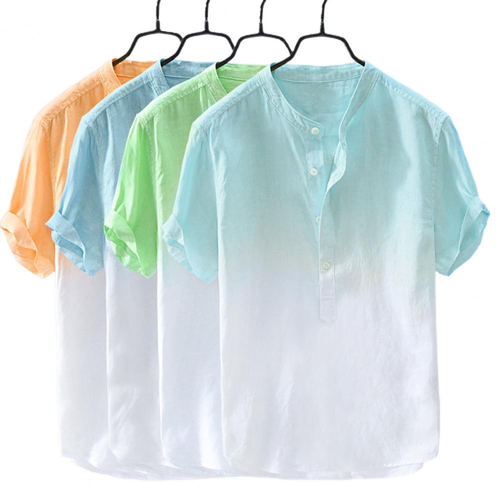Рубашка мужская с воротником-стойкой, однобортная Удобная офисная блуза с короткими рукавами, свободного покроя, лето 2021