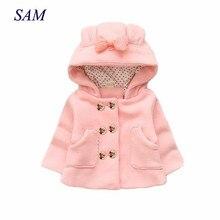 Manteaux en laine épais décontractés pour filles   Chemise à capuche pour enfants, poche à nœud, vêtements dextérieur à double boutonnage, vêtements wam pour bébés enfants