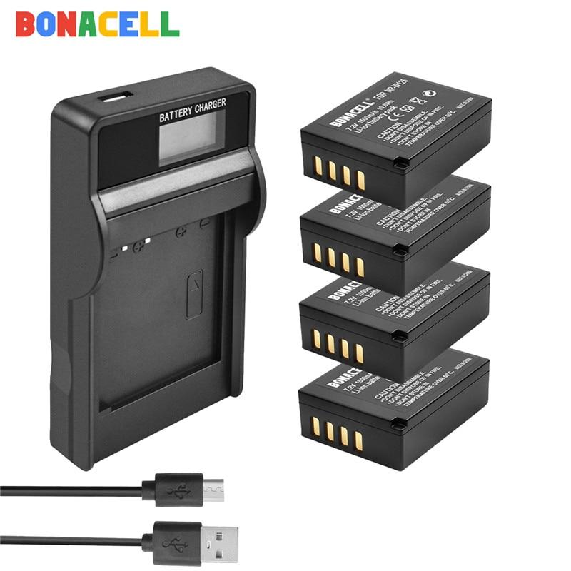 Bonacell para Fujifilm NP-W126 NP-W126S batería + LCD cargador de repuesto para Fujifilm X-M1 X-A1 X-T1 X-E1 X-Pro2 NP W126