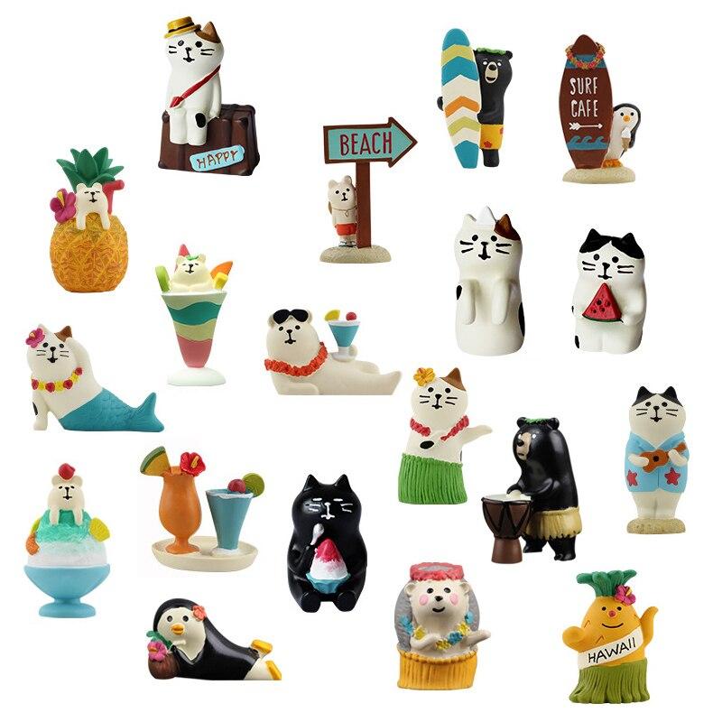 Jupe hula style japonais authentique en vrac, figurines de chat, oursons, sirène, été, figurines de chat, hawaï, danse de plage
