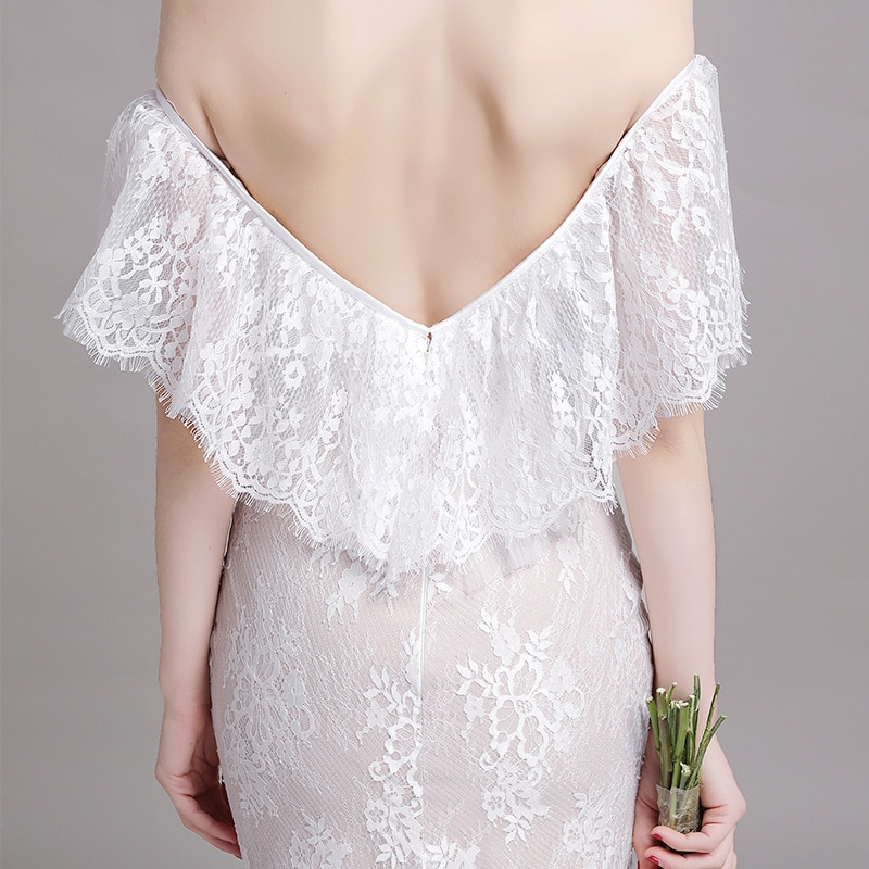 2021 luxury design lace splicing fashion simple and generous one shoulder banquet dress temperament slim sexy wedding dress
