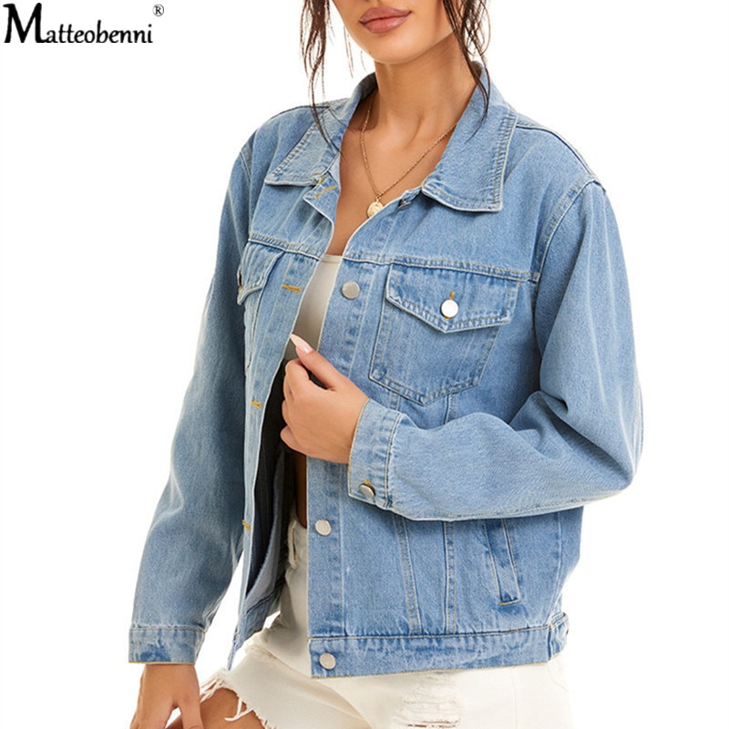 Autumn Womens Denim Jacket Fashion Casual 2020 Jeans Jackets Lady Vintage Loose Washed Distressed Long Sleeve Winter Coats