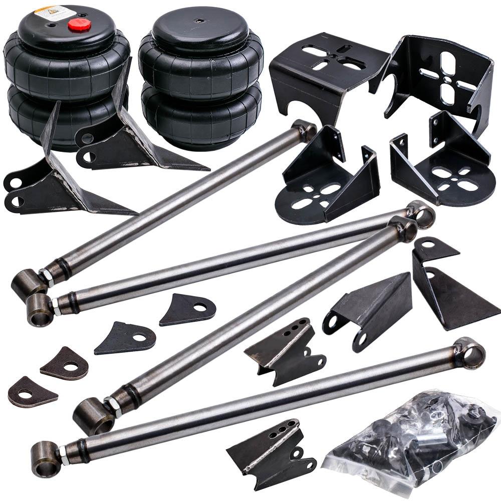 Weld On Parallel 4 Link Suspension Level lift kit Heavy Duty Steel Bar & Mounts Bracket 2500 Bag Air Ride Suspension 2.75'' axle