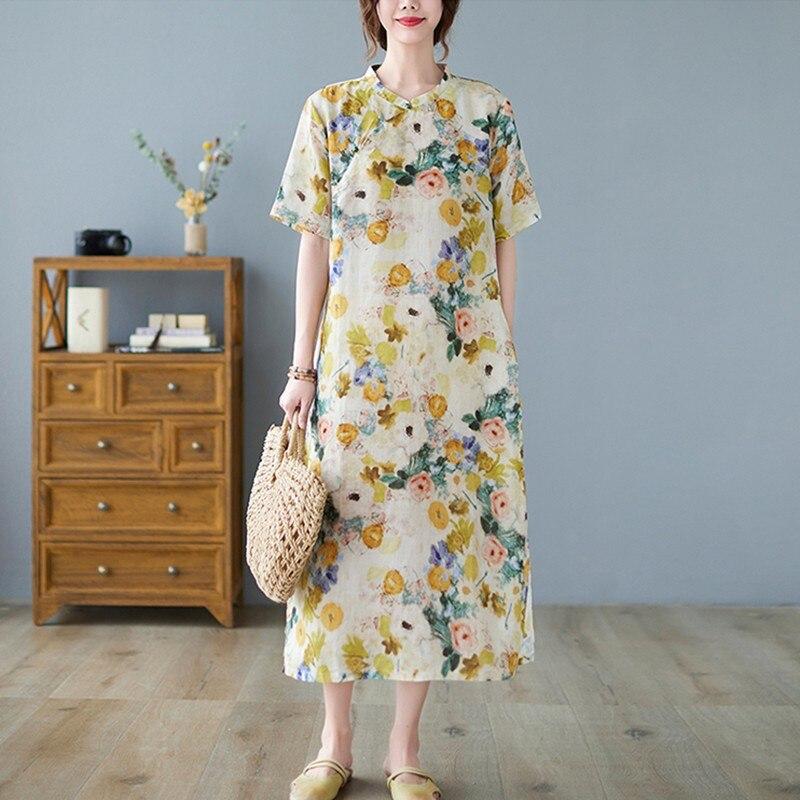 المرأة الصيف القطن الكتان فستان طويل جديد 2021 خمر نمط الوقوف طوق الأزهار طباعة فضفاضة السيدات أنيقة ألف خط فساتين B370