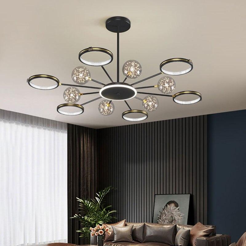 Nordic Creative Luster LED Black Gold Branch Chandelier for Bedroom Living Room Restaurant Kitchen Modern Home Decorative Light