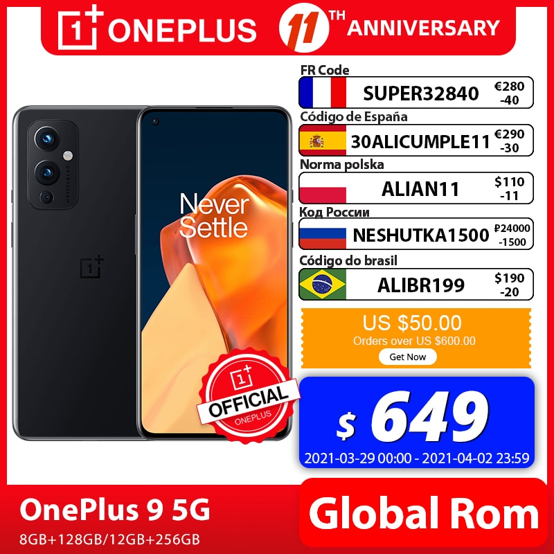 Global Rom OnePlus 9 5G Snapdragon 888 8GB 128GB Smartphone 6.5'