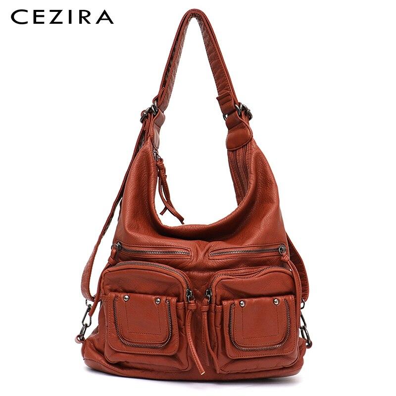 Большая мягкая Повседневная сумка CEZIRA, Женский функциональный школьный рюкзак из искусственной кожи с несколькими карманами, сумка-мессенджер на плечо