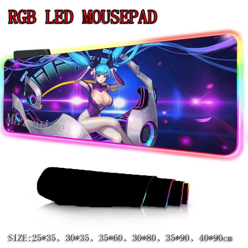 Alfombrilla de ratón grande Mairuige Red Hatsune Miku Anime RGB de Gamer, alfombra para ratón teclado, Alfombra de escritorio con retroiluminación