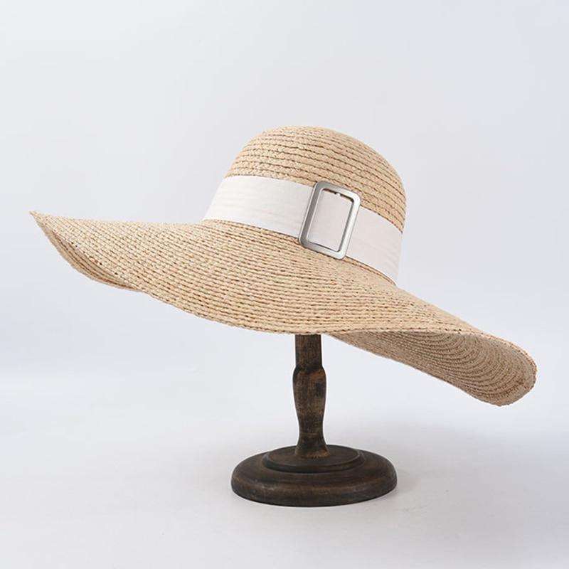 ¡Novedad de 2020! Sombrero de rafia de ganchillo para mujer, elegante sombrero de verano con ala ancha, sombrero de viaje, sombrero Derby