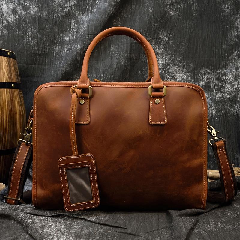Maletín MAHEU de piel auténtica para ordenador portátil, maletín de 15,6 pulgadas para hombre, bolso grande de trabajo para oficina, bolso de negocios, estuche de cuero