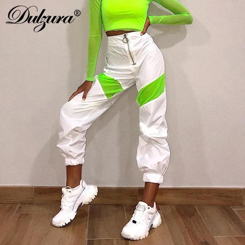 Dulzura 2019 Otoño Invierno Pantalones de mujer de cintura alta streetwear pantalones de chándal sueltos pantalones de retazos Ropa de baile