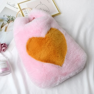 plush  handbags winter shoulder bag cute heart star prints soft hand bag  women solid color ladies bag tote chiristmas gift bag