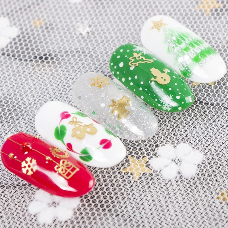 500pcs Christmas Nail Decoration Alloy Patch  Golden Snowflake Bell Tree Decal