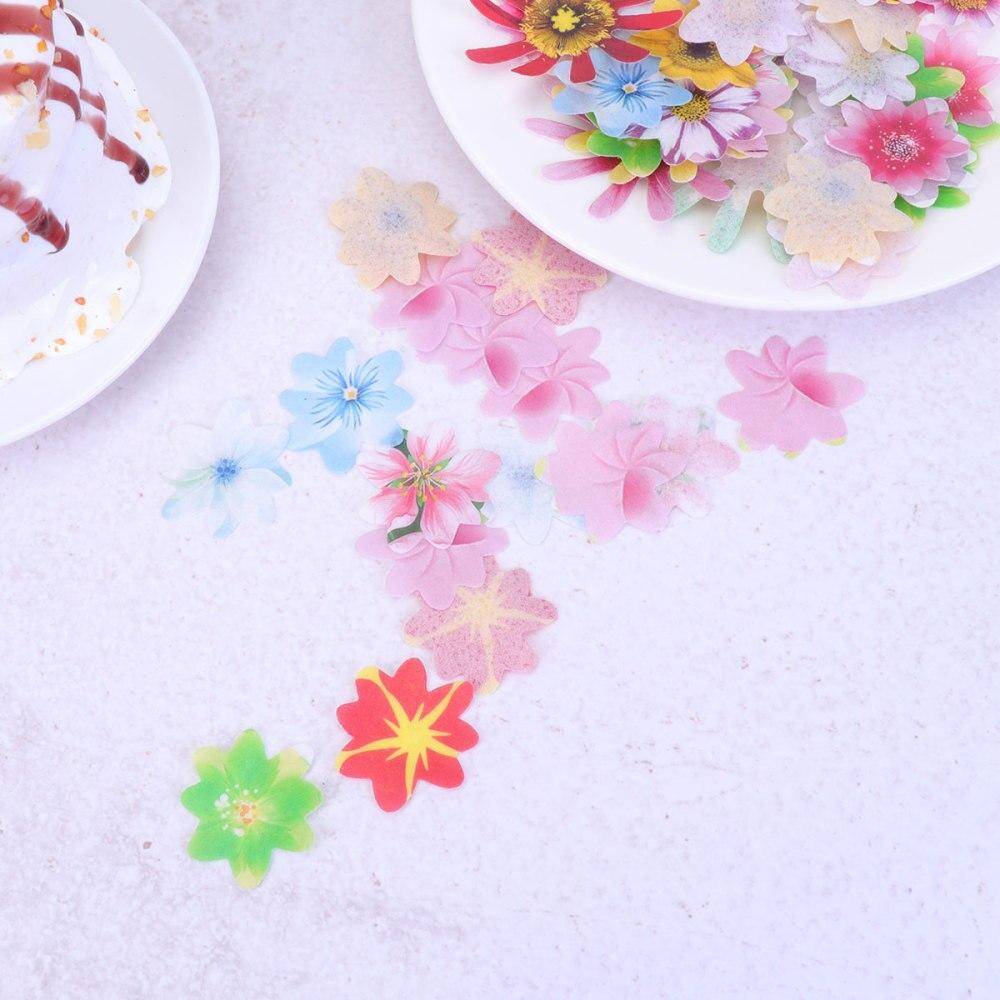 120 Uds flores comestibles papel de arroz colorido lindo pastel decoración postres flores Cupcake Toppers para cumpleaños