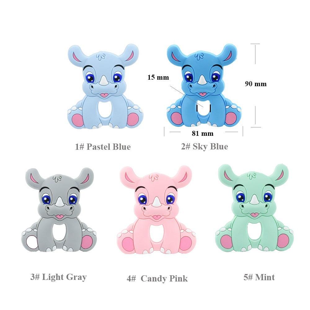 5/10PCS rhinoceros Silicone Baby Teether rodent Baby Teething Toys Chewable Animal Shape Baby Products