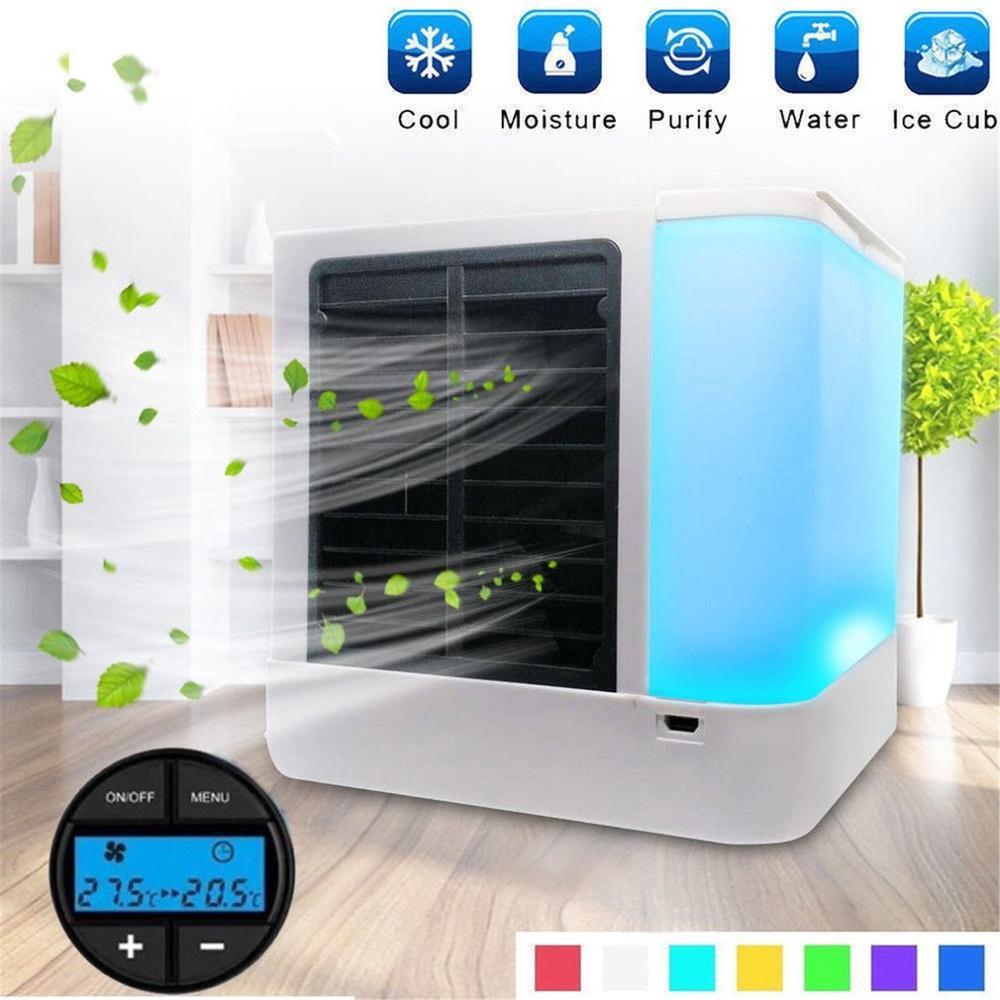 Aire acondicionado portátil de mano de escritorio, Mini enfriador de aire USB, ventilador de refrigeración de aire con pantalla Digital