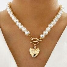 Punk chaîne épaisse collier de perles mode coeur médaillon serrure à monnaie pendentif collier pour les femmes déclaration bijoux cadeaux