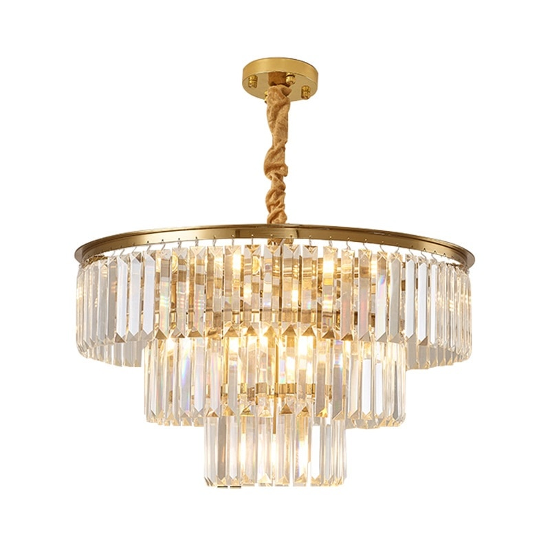 LukLoy-مصباح معلق من الفولاذ المقاوم للصدأ مع تأثير كريستالي ، مصباح سقف فاخر ، مثالي لغرفة المعيشة أو غرفة النوم أو الردهة أو المتجر.