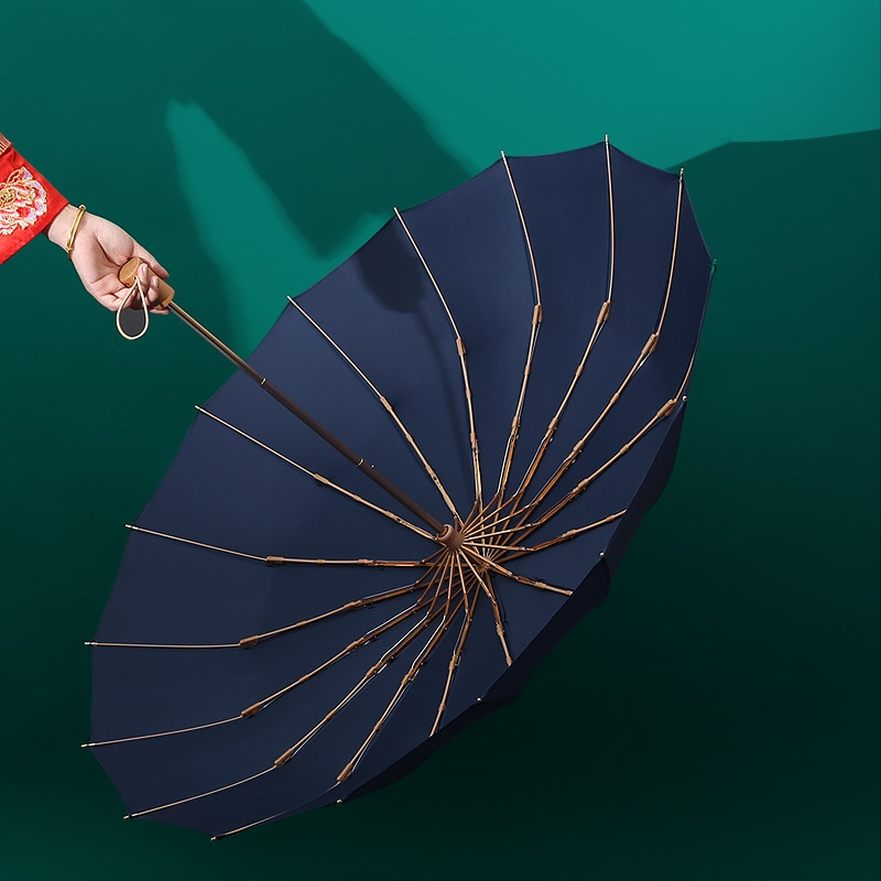 16 K سوبر يندبروف النساء مظلة المطر موضة ريترو مقبض خشبي بلون كبير الحجم الأعمال يندبروف مظلة قوية