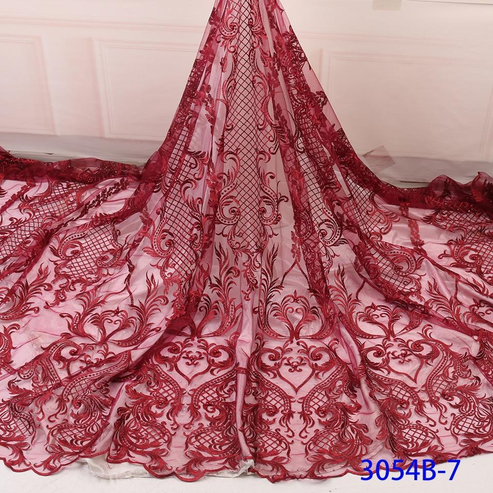 NIAI afrykańska koronkowa tkanina haftowana nigeryjska koronka na ślub tkanina 2019 wysokiej jakości francuska tiulowa koronkowa tkanina na koraliki XY3054B-7