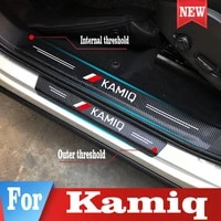 car door sill protector sticker for skoda kamiq pu leather car trunk threshold protective stickers styling accessories