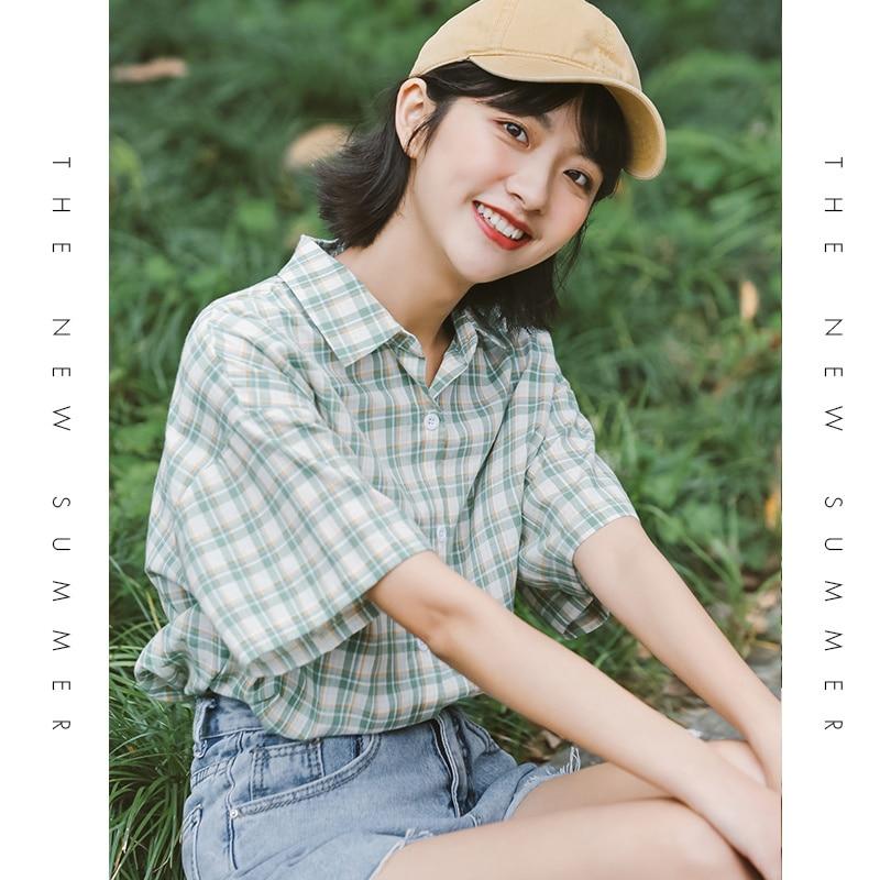 2021 Summer Short Sleeve Plaid Shirt Women's New Loose Retro Hong Kong Style Green Design Minority A