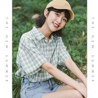 2021 Summer Short Sleeve Plaid Shirt Women\'s New Loose Retro Hong Kong Style Green Design Minority All-Match Shirt