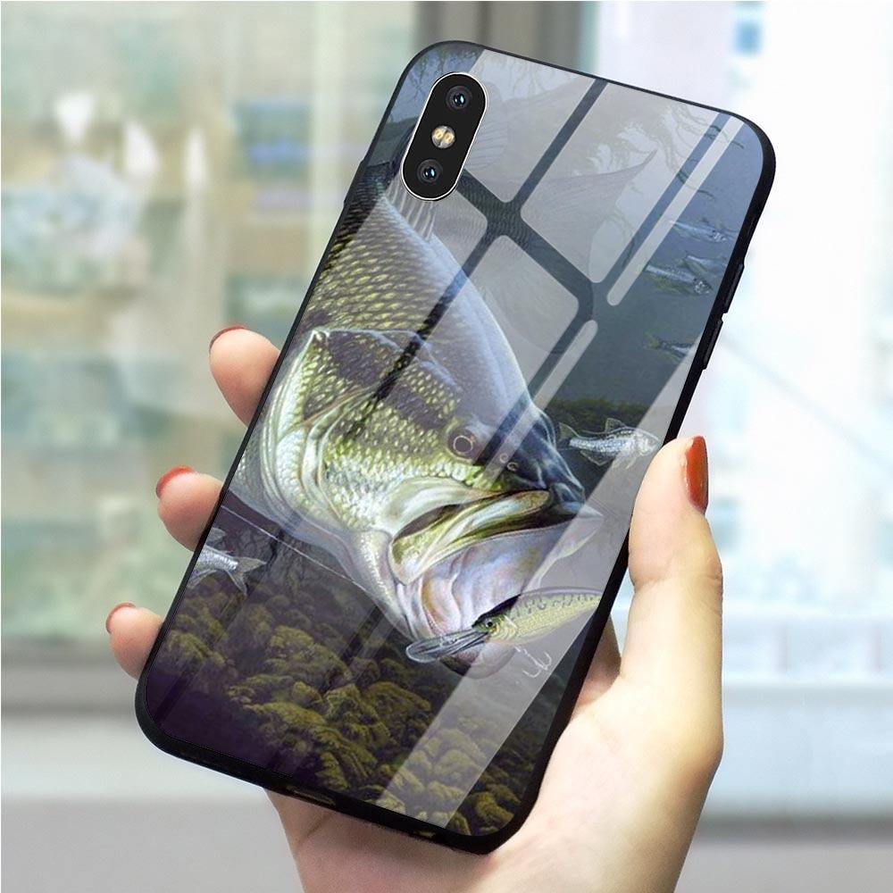 Cubierta de teléfono para iPhone 6 6S Plus, carcasa Xs Max XR X 5 5S SE 7 8 Plus, vidrio templado 11 pro, equipo de pesca