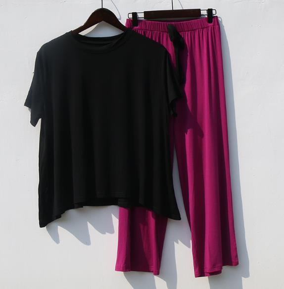 Сетка красный костюм женский весна лето дом одежда короткий рукав из двух частей комплект свободный модал хлопок пижамы женщины пижама Mujer 6 цвет