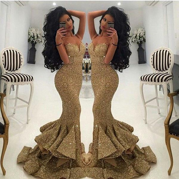 Robe De Soiree Sparkly Strapless Mermaid Evening Dresses Long Sequin Women Formal Party Dress Gowns Longue