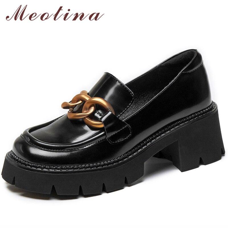 Meotina الطبيعي جلد طبيعي منصة عالية الكعب امرأة الأحذية جولة اصبع القدم سميكة كعب مضخات المعادن الديكور السيدات الأحذية 39