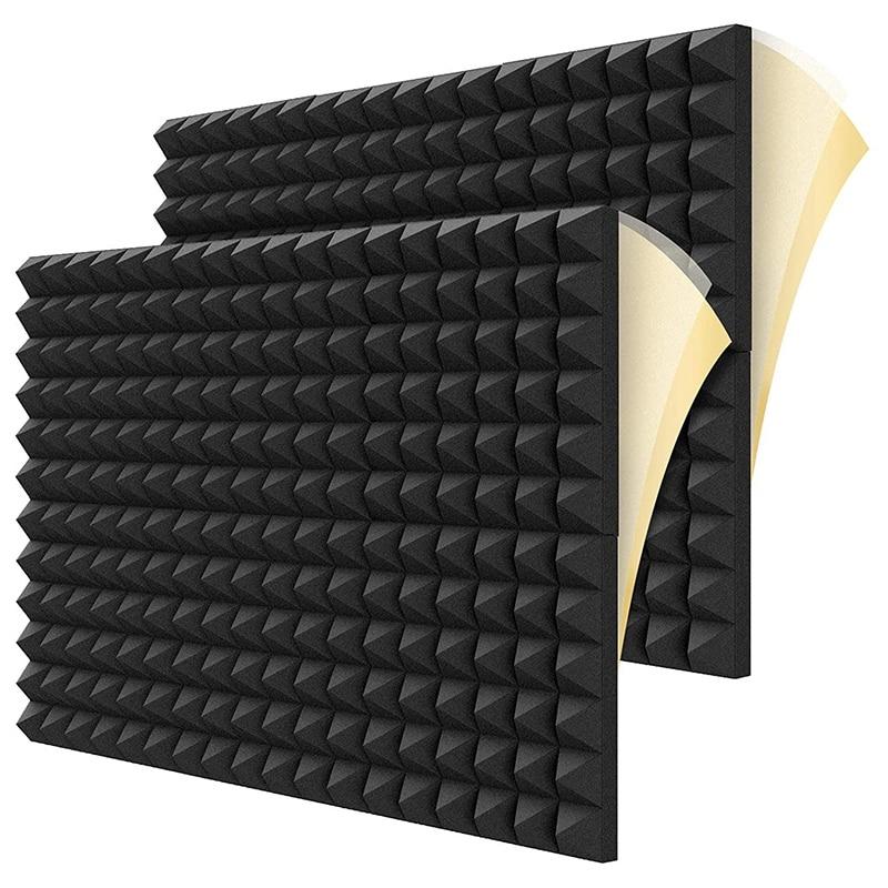 Звукоизоляционные пенопластовые панели, 2 дюйма x 12 дюймов x 12 дюймов, акустические панели в форме пирамиды для стен, студии, дома и офиса, 12 шт...