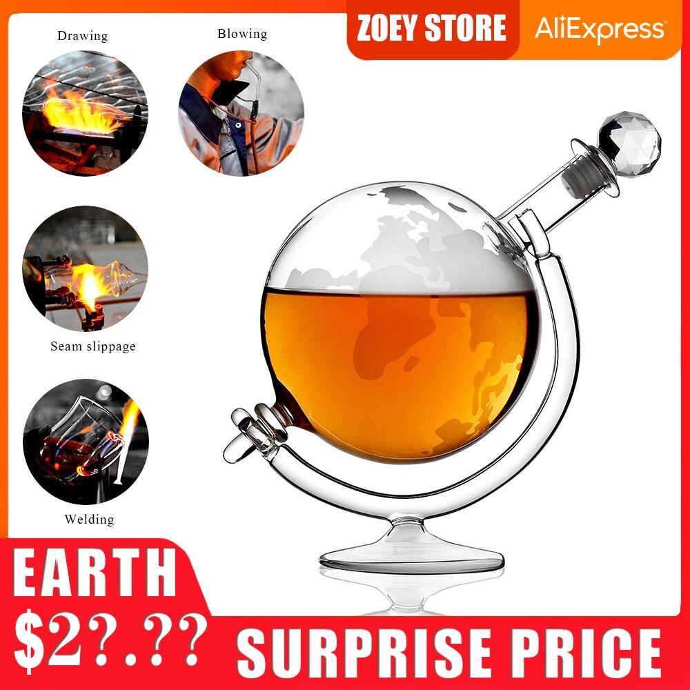 990ml Glass Bottle Creative Globe Decanter Bar Supplies Whiskey Container High Borosilicate Glass Wine Dispenser Home Decoration