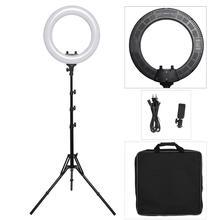 18 inç fotoğraf stüdyosu aydınlatma LED halka ışık telefonu kamera lambası fotoğrafçılık kısılabilir yüzük lamba Tripod Video, makyaj