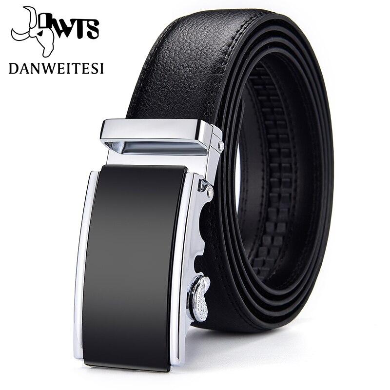 [DWTS] cinturones de cuero auténtico para hombre, cinturón para hombre, hebilla automática de alta calidad, faja negra para hombre