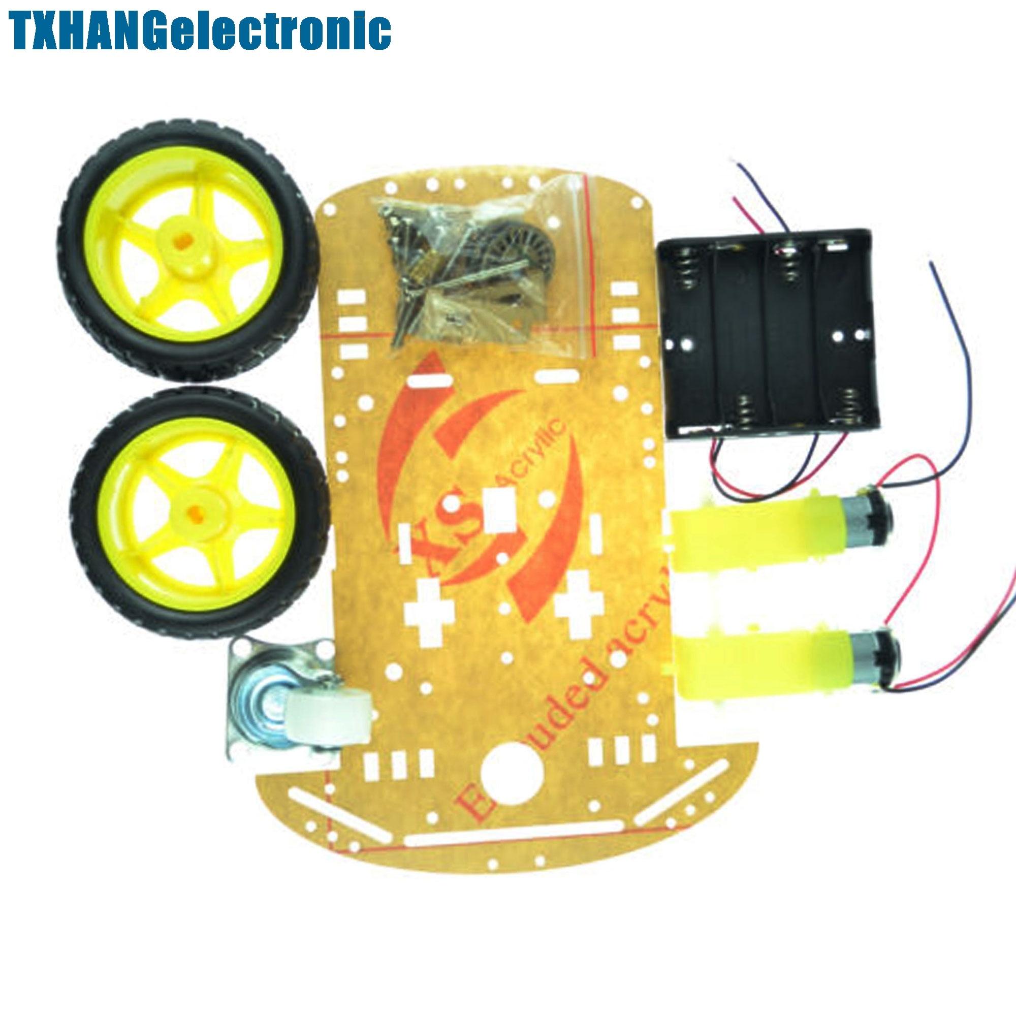 economy robot wooden tank chassis tt motor 3 9v tracked intelligent car tool r9ue 2WD Smart Robot Car Chassis Kit/Speed encoder Battery Box 2 motor 1:48 DIY electronics