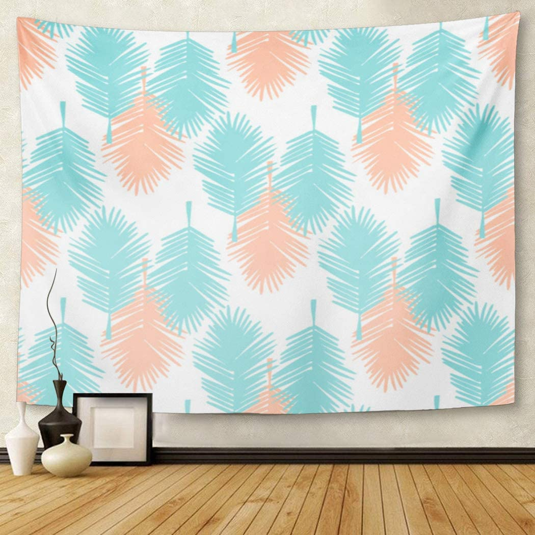 Azul de hojas de palma Tropical patrón Coral colorido California tapiz colgante de pared para sala de estar dormitorio 60x80 pulgadas
