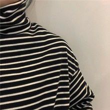 Undershirt Women's Spring Autumn 2021 New Black and White Striped Turtleneck Long Sleeve T-shirt Kor
